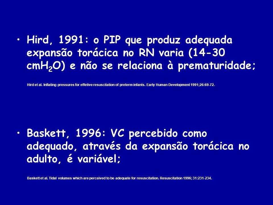 Hird, 1991: o PIP que produz adequada expansão torácica no RN varia (14-30 cmH2O) e não se relaciona à prematuridade;