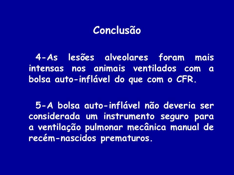 Conclusão 4-As lesões alveolares foram mais intensas nos animais ventilados com a bolsa auto-inflável do que com o CFR.