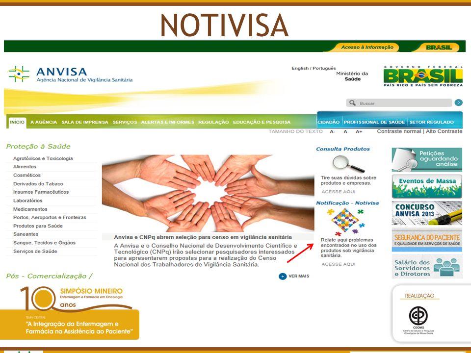 NOTIVISA Agência Nacional de Vigilância Sanitária www.anvisa.gov.br