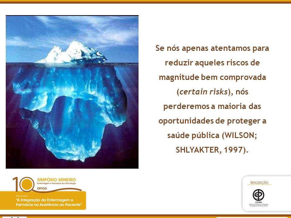 Se nós apenas atentamos para reduzir aqueles riscos de magnitude bem comprovada (certain risks), nós perderemos a maioria das oportunidades de proteger a saúde pública (WILSON; SHLYAKTER, 1997).