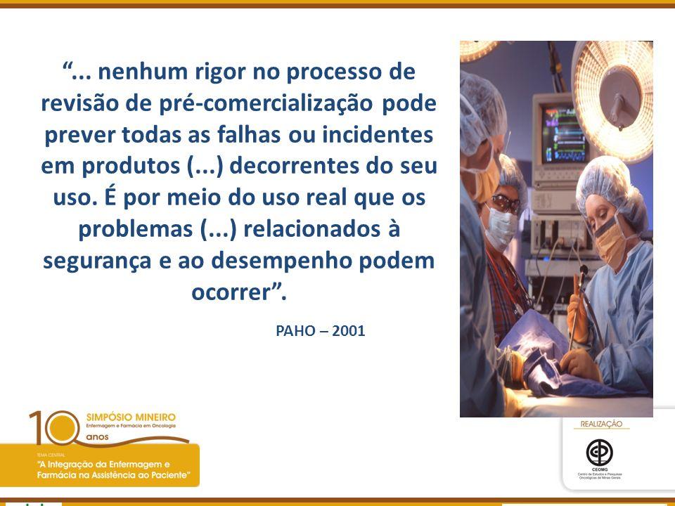 ... nenhum rigor no processo de revisão de pré-comercialização pode prever todas as falhas ou incidentes em produtos (...) decorrentes do seu uso. É por meio do uso real que os problemas (...) relacionados à segurança e ao desempenho podem ocorrer .
