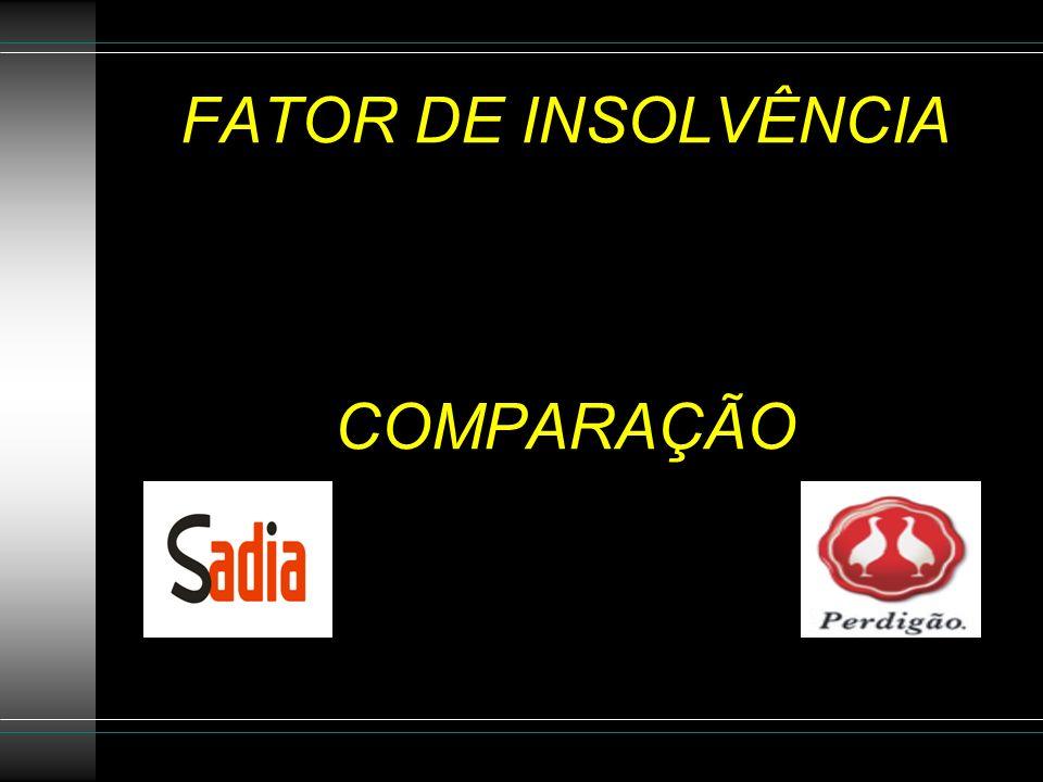 FATOR DE INSOLVÊNCIA COMPARAÇÃO