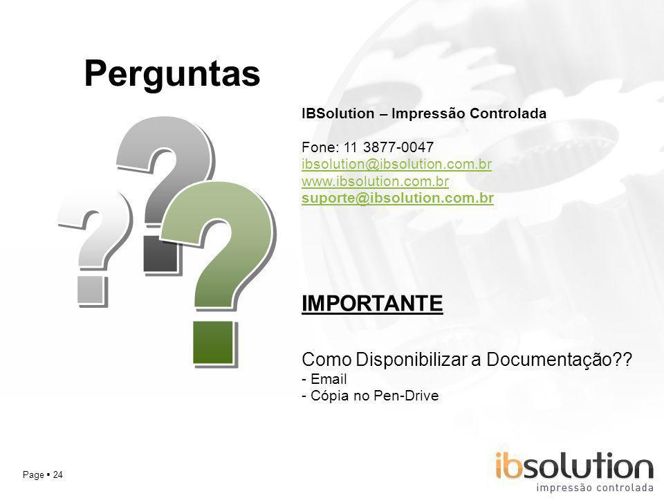 Perguntas IMPORTANTE Como Disponibilizar a Documentação