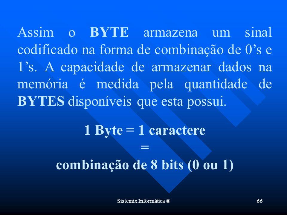 combinação de 8 bits (0 ou 1)
