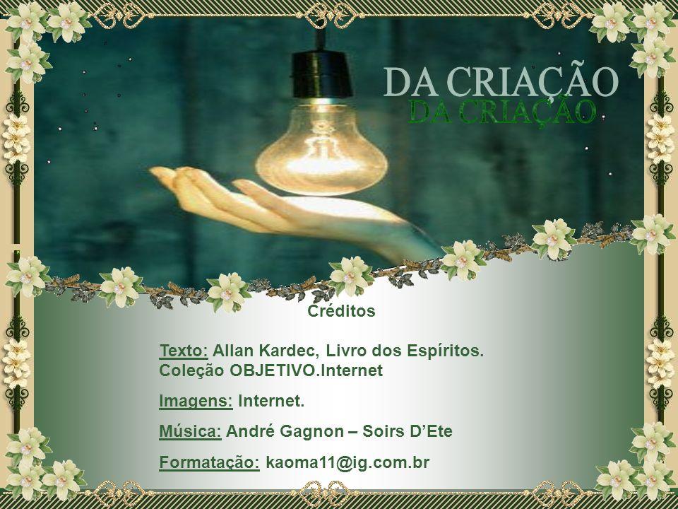 DA CRIAÇÃOCréditos. Texto: Allan Kardec, Livro dos Espíritos. Coleção OBJETIVO.Internet. Imagens: Internet.