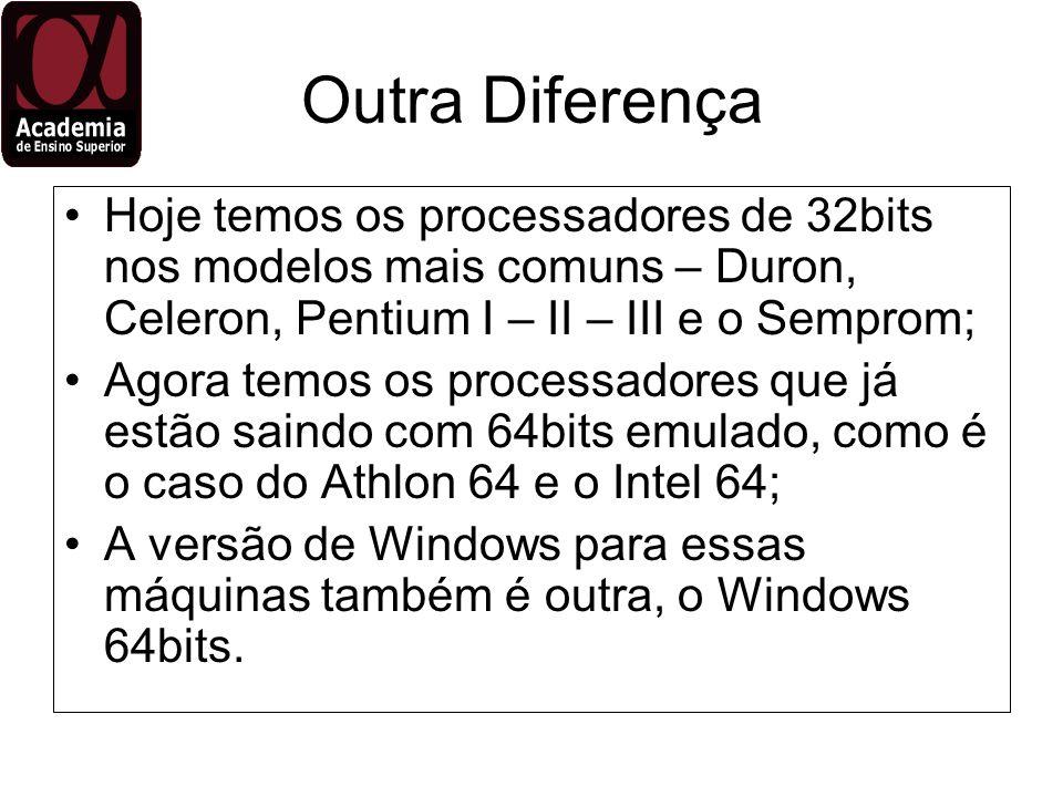 Outra Diferença Hoje temos os processadores de 32bits nos modelos mais comuns – Duron, Celeron, Pentium I – II – III e o Semprom;