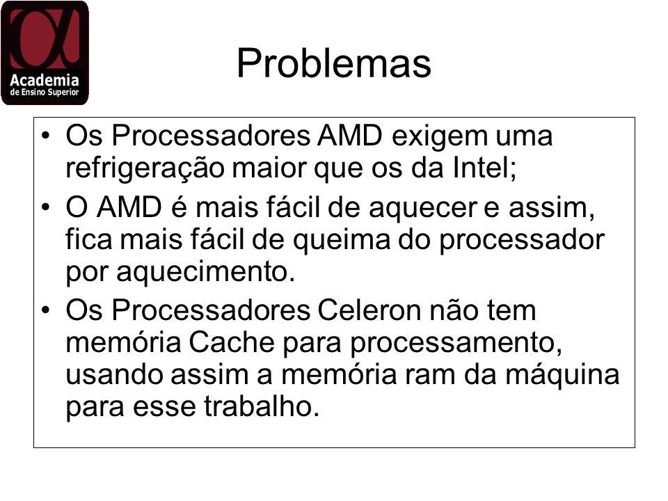 ProblemasOs Processadores AMD exigem uma refrigeração maior que os da Intel;