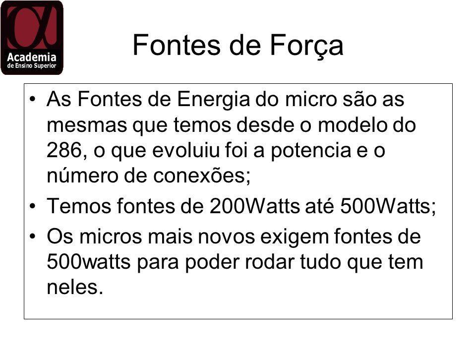 Fontes de ForçaAs Fontes de Energia do micro são as mesmas que temos desde o modelo do 286, o que evoluiu foi a potencia e o número de conexões;