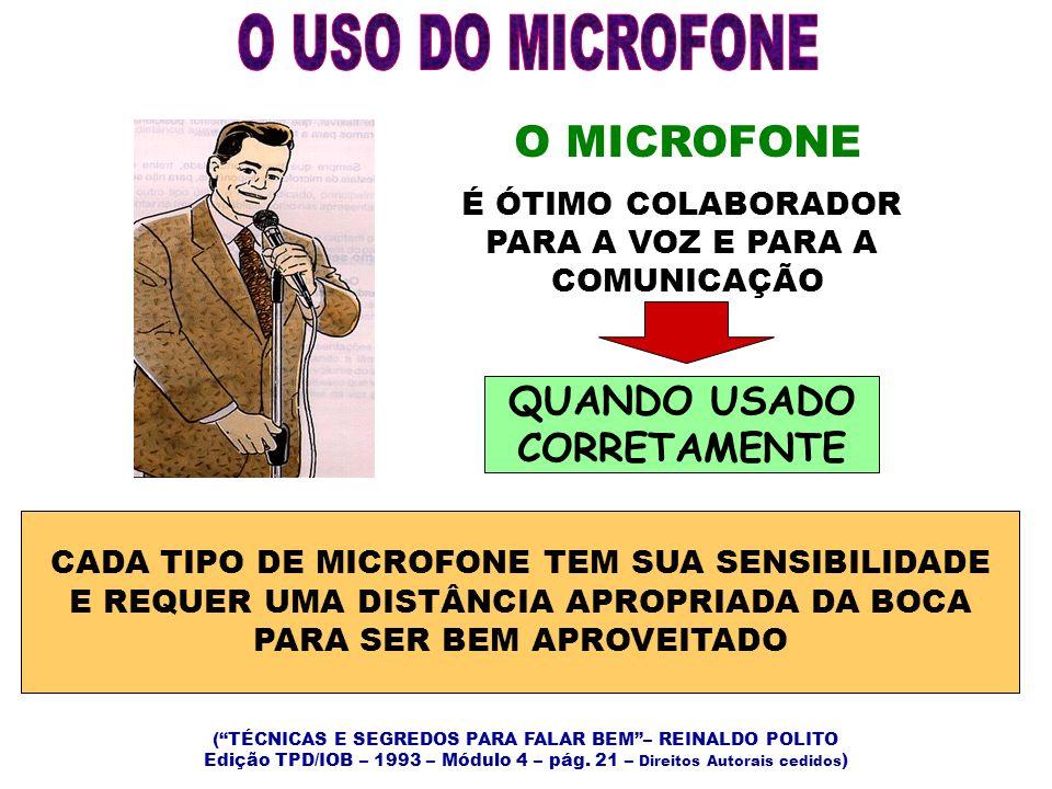 O USO DO MICROFONE O MICROFONE QUANDO USADO CORRETAMENTE