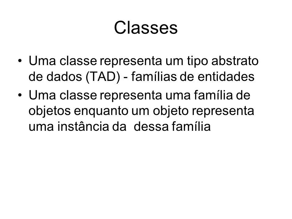 Classes Uma classe representa um tipo abstrato de dados (TAD) - famílias de entidades.