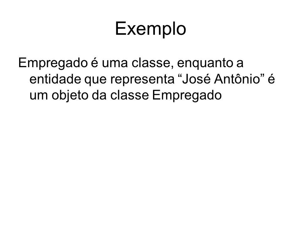 Exemplo Empregado é uma classe, enquanto a entidade que representa José Antônio é um objeto da classe Empregado.