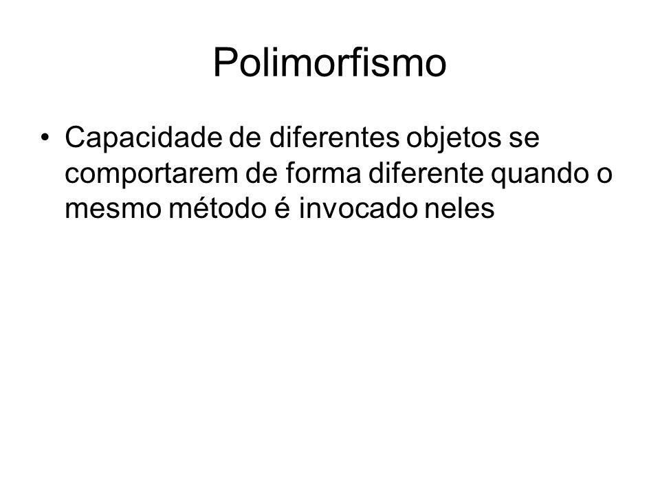 Polimorfismo Capacidade de diferentes objetos se comportarem de forma diferente quando o mesmo método é invocado neles.