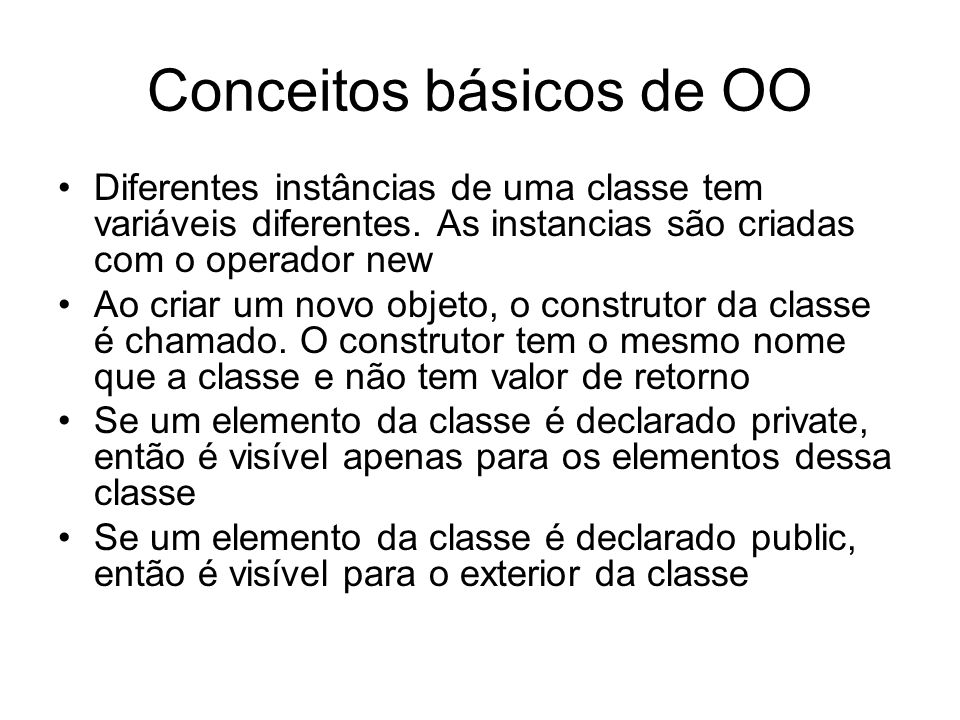 Conceitos básicos de OO