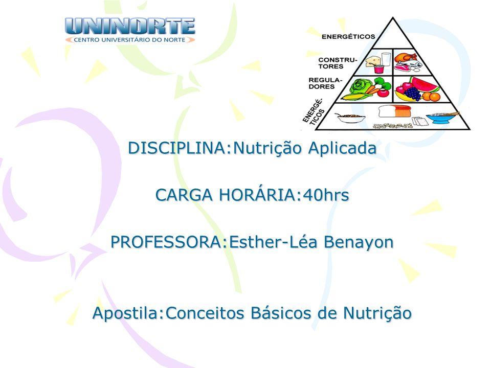 DISCIPLINA:Nutrição Aplicada CARGA HORÁRIA:40hrs