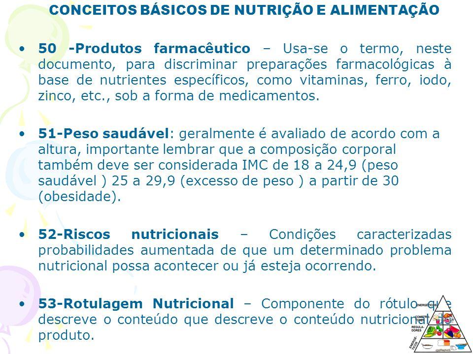 CONCEITOS BÁSICOS DE NUTRIÇÃO E ALIMENTAÇÃO
