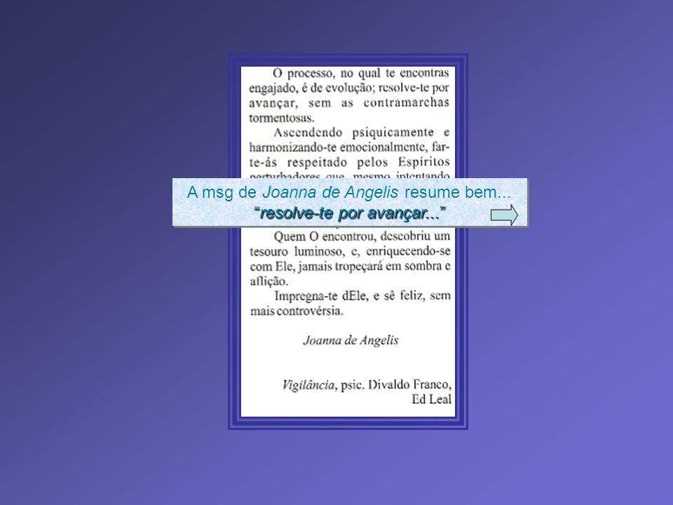 A msg de Joanna de Angelis resume bem... resolve-te por avançar...