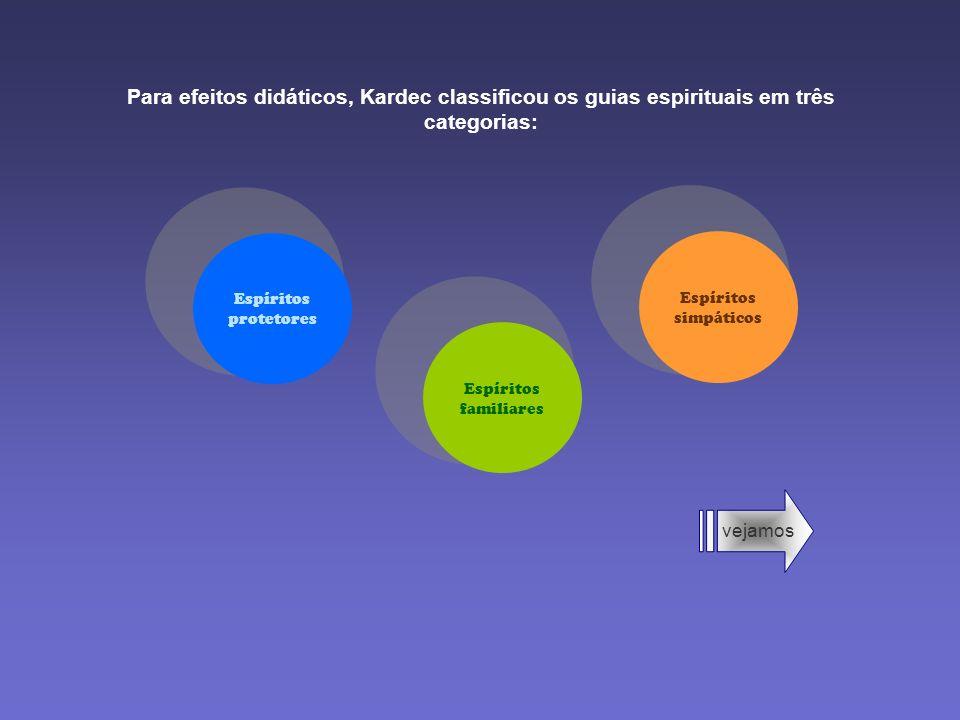 Para efeitos didáticos, Kardec classificou os guias espirituais em três categorias:
