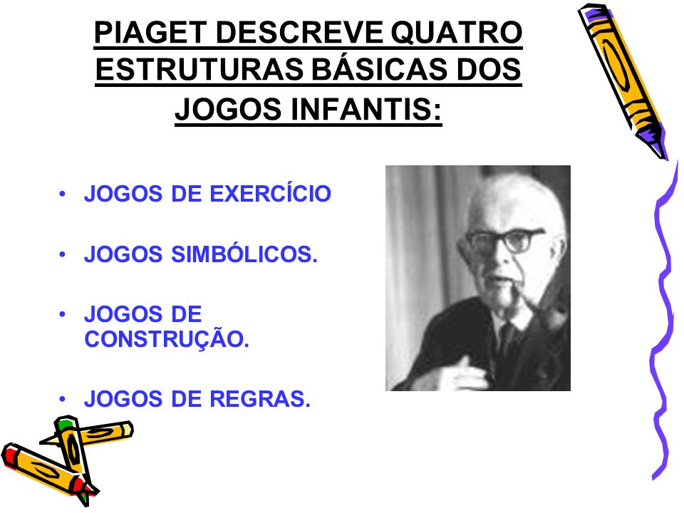 PIAGET DESCREVE QUATRO ESTRUTURAS BÁSICAS DOS JOGOS INFANTIS: