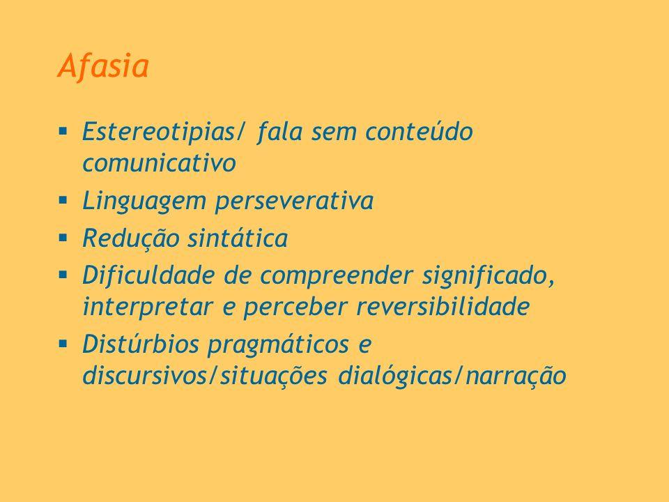 Afasia Estereotipias/ fala sem conteúdo comunicativo