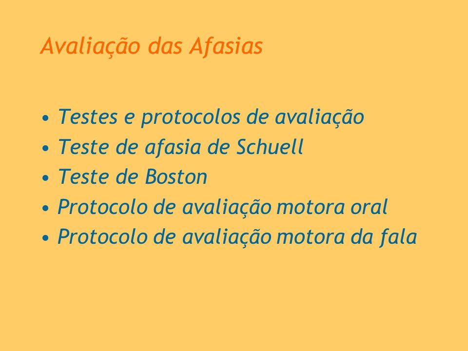 Avaliação das Afasias Testes e protocolos de avaliação