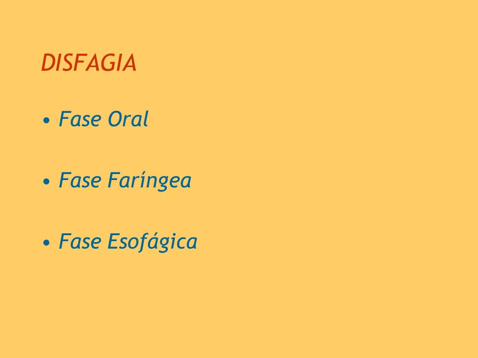 DISFAGIA Fase Oral Fase Faríngea Fase Esofágica