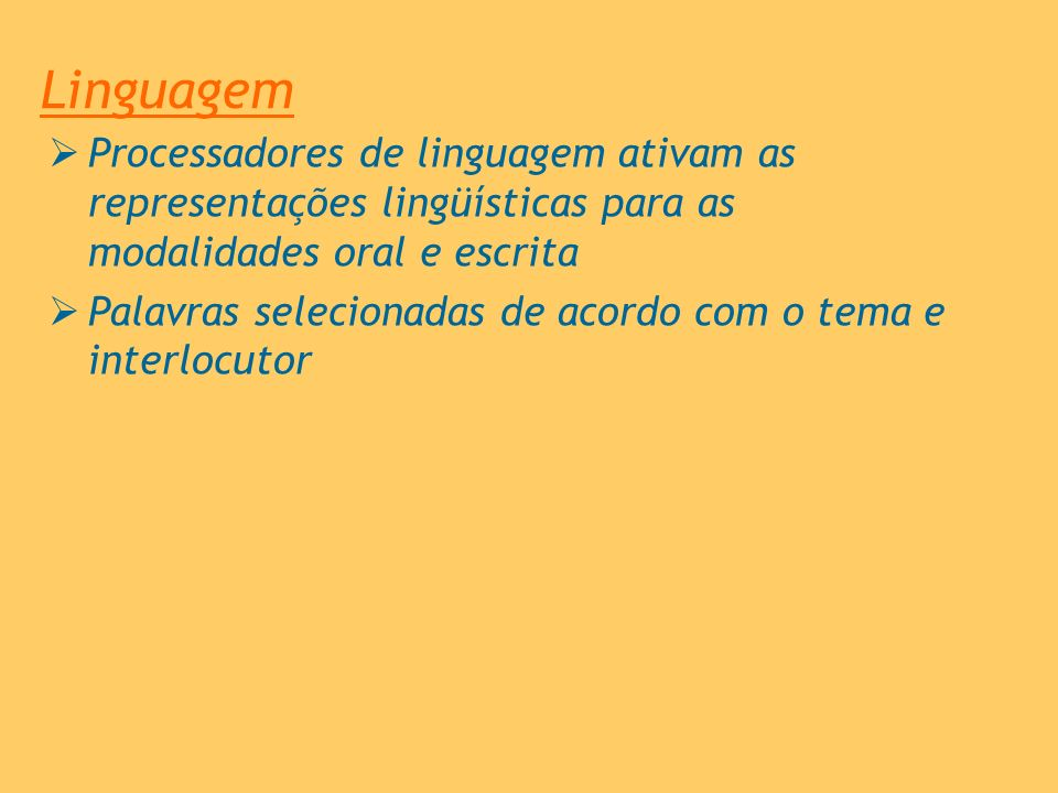 Linguagem Processadores de linguagem ativam as representações lingüísticas para as modalidades oral e escrita.