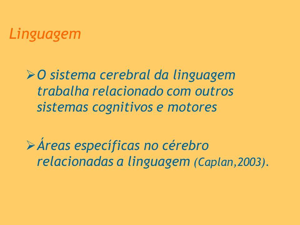 Linguagem O sistema cerebral da linguagem trabalha relacionado com outros sistemas cognitivos e motores.