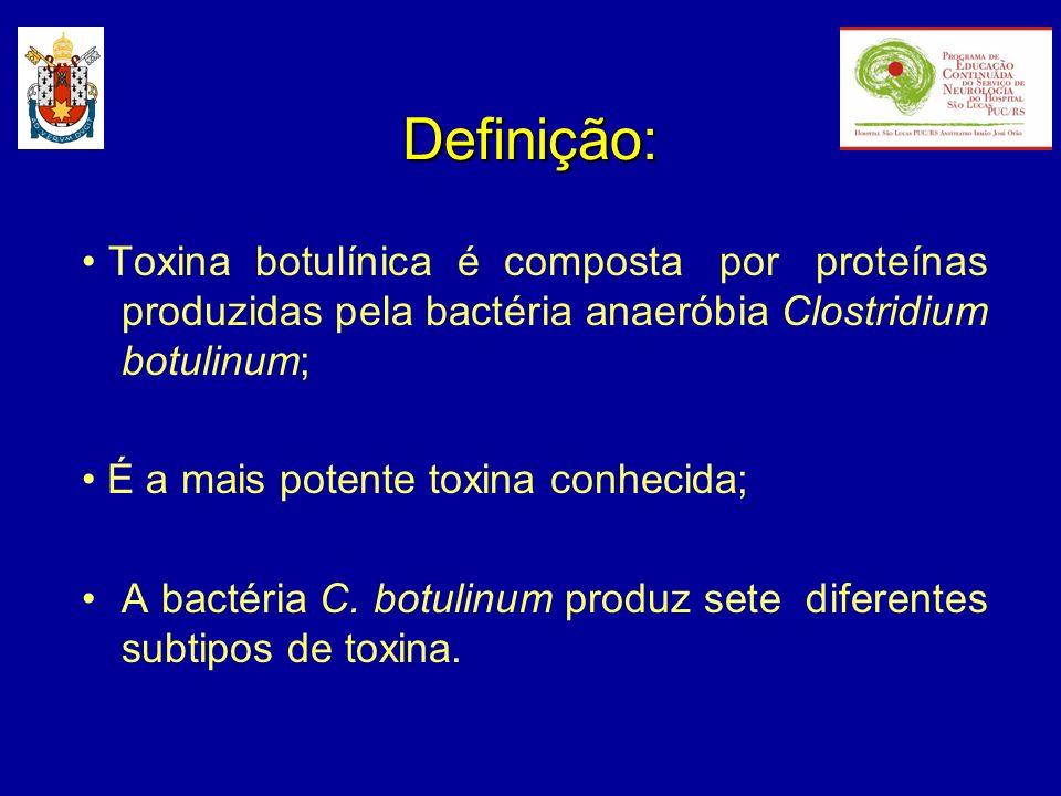 Definição: • Toxina botulínica é composta por proteínas produzidas pela bactéria anaeróbia Clostridium botulinum;