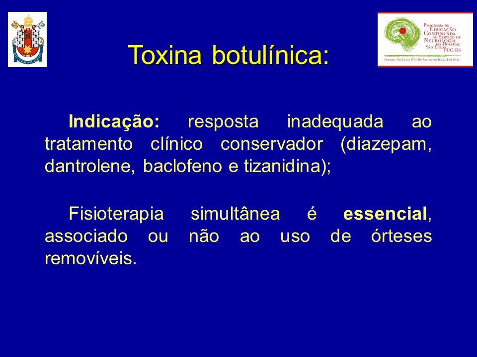 Toxina botulínica:Indicação: resposta inadequada ao tratamento clínico conservador (diazepam, dantrolene, baclofeno e tizanidina);