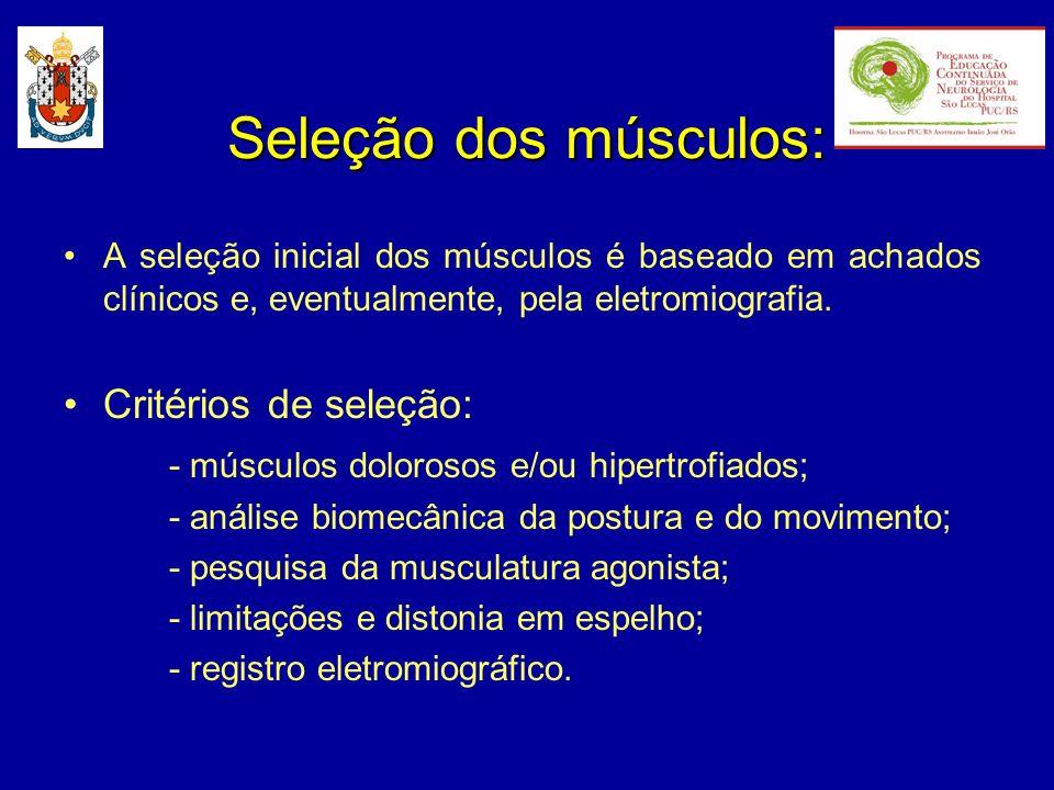 Seleção dos músculos: Critérios de seleção: