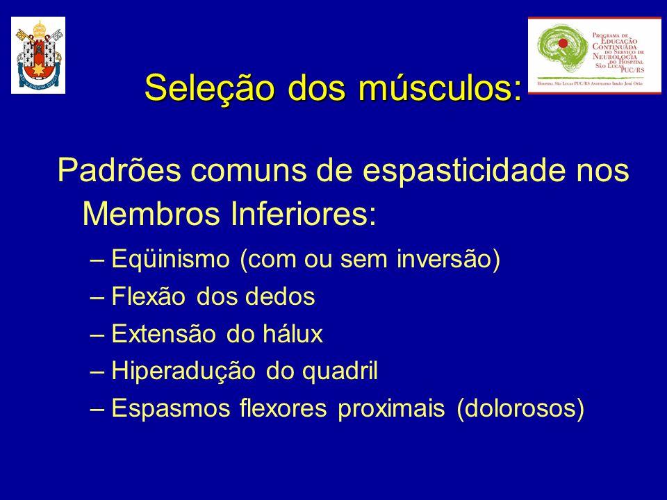Seleção dos músculos: Padrões comuns de espasticidade nos Membros Inferiores: Eqüinismo (com ou sem inversão)