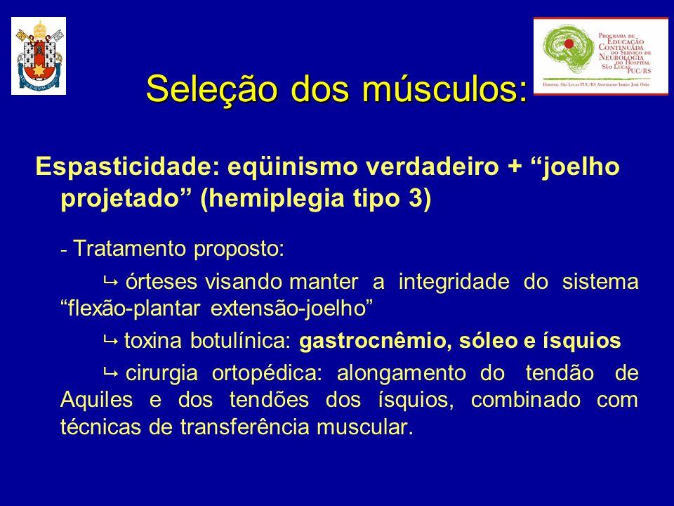 Seleção dos músculos:Espasticidade: eqüinismo verdadeiro + joelho projetado (hemiplegia tipo 3) - Tratamento proposto: