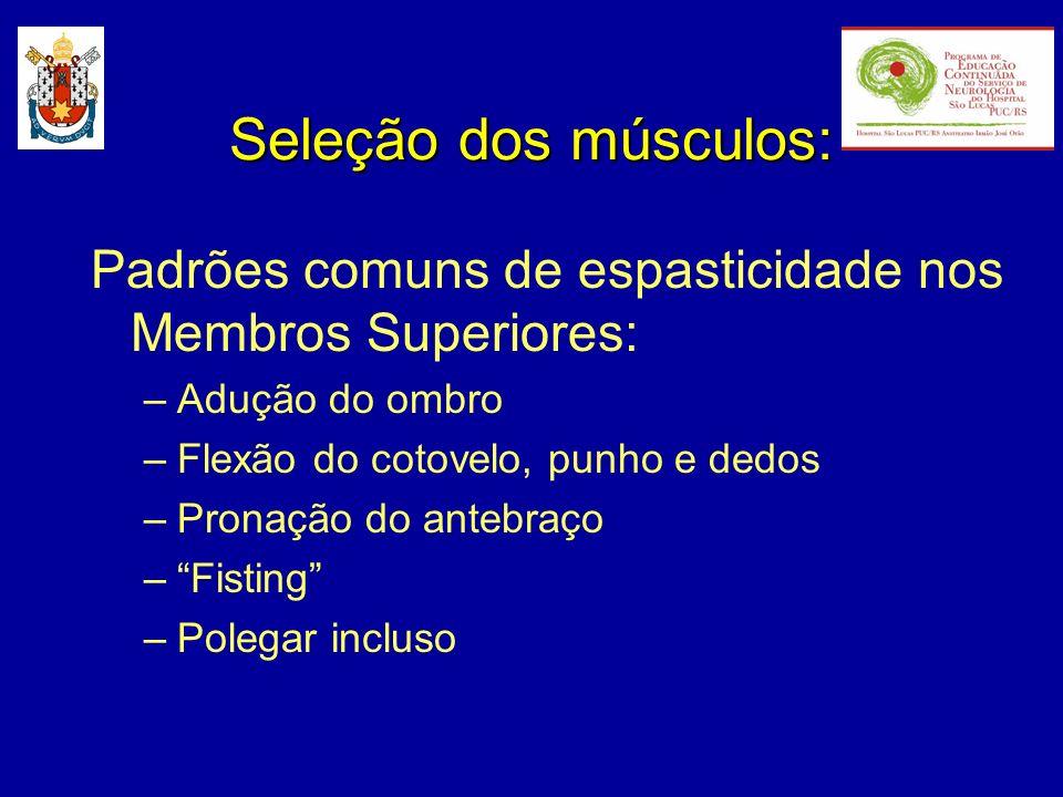 Seleção dos músculos: Padrões comuns de espasticidade nos Membros Superiores: Adução do ombro. Flexão do cotovelo, punho e dedos.
