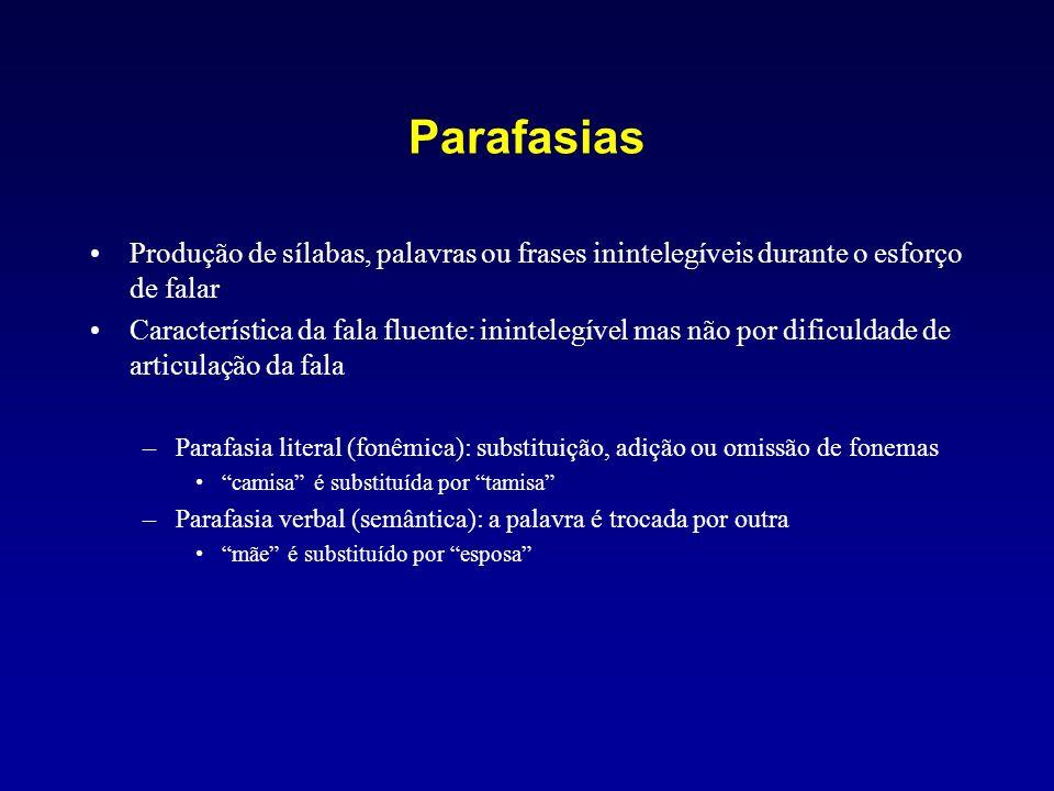 Parafasias Produção de sílabas, palavras ou frases inintelegíveis durante o esforço de falar.