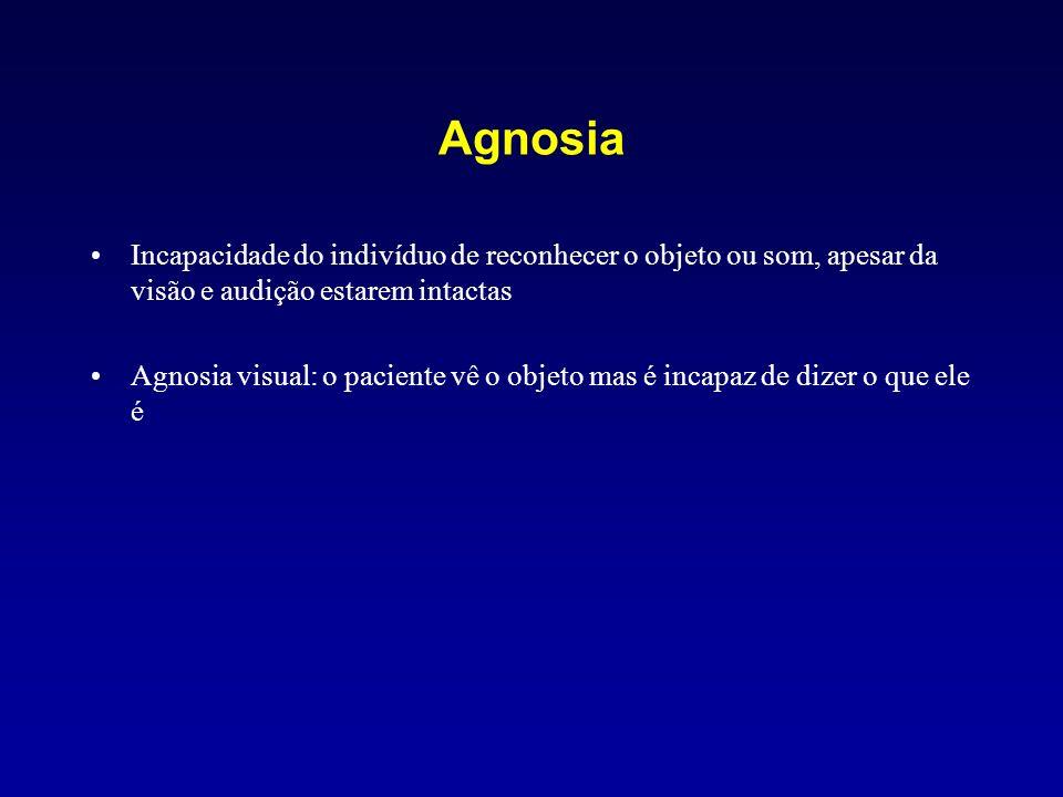 AgnosiaIncapacidade do indivíduo de reconhecer o objeto ou som, apesar da visão e audição estarem intactas.