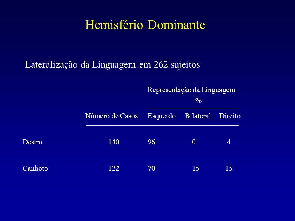 Hemisfério Dominante Lateralização da Linguagem em 262 sujeitos