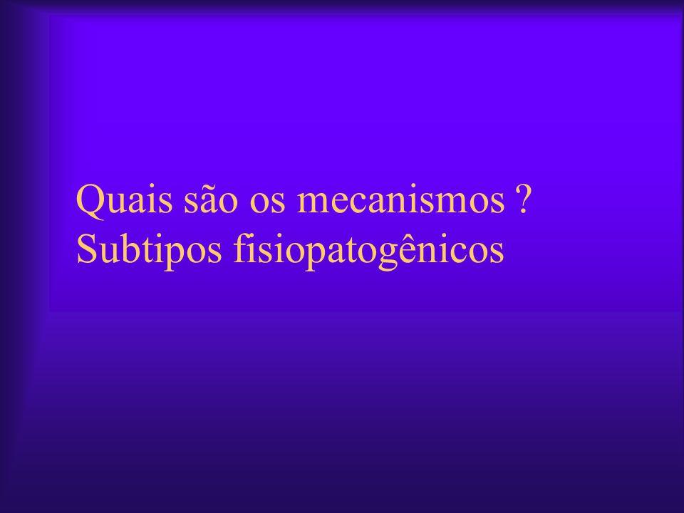 Quais são os mecanismos Subtipos fisiopatogênicos