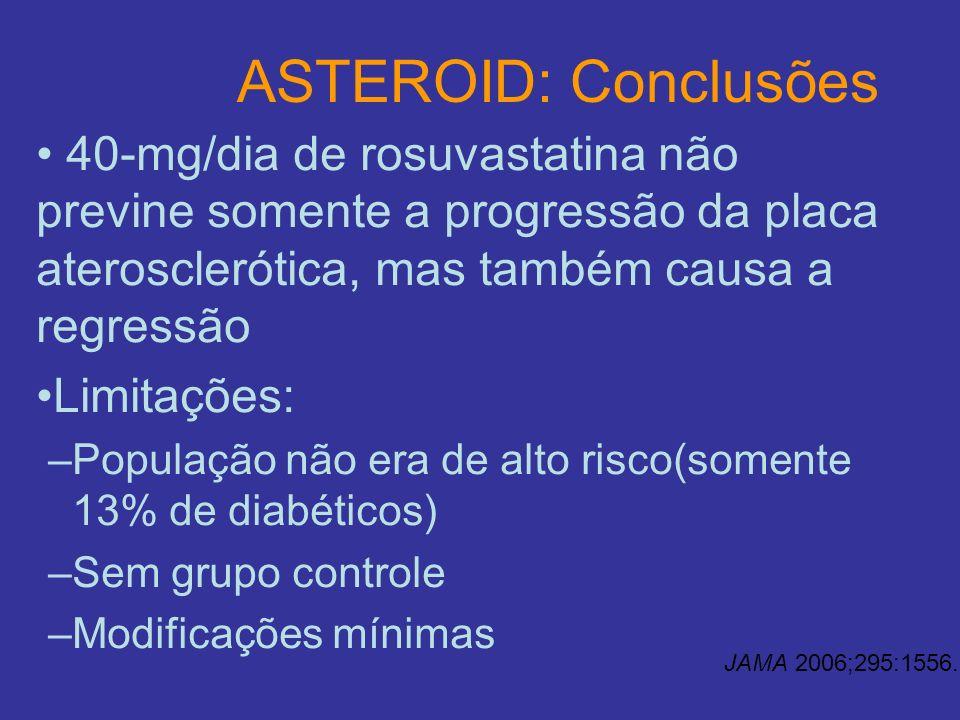 ASTEROID: Conclusões40-mg/dia de rosuvastatina não previne somente a progressão da placa aterosclerótica, mas também causa a regressão.