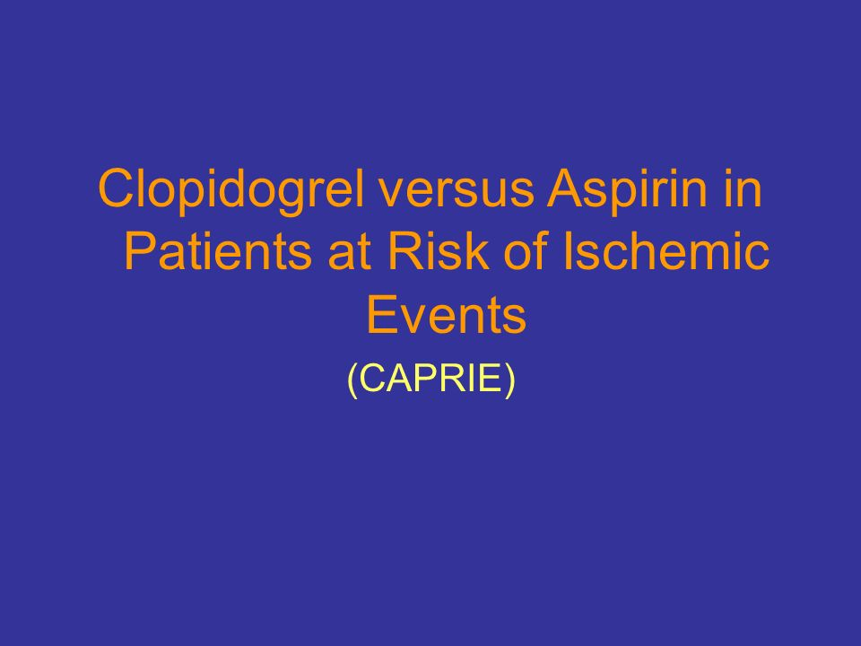 Clopidogrel versus Aspirin in Patients at Risk of Ischemic Events