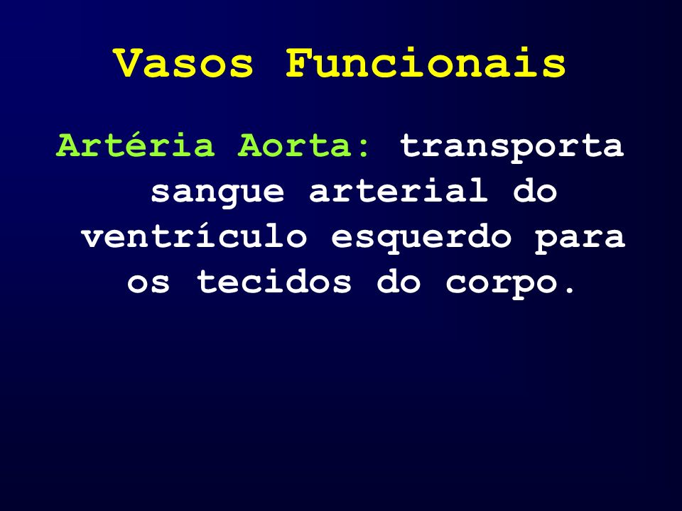 Vasos Funcionais Artéria Aorta: transporta sangue arterial do ventrículo esquerdo para os tecidos do corpo.