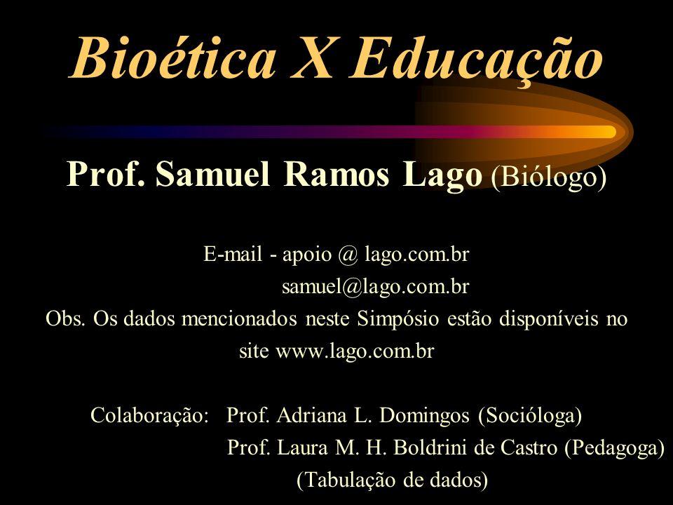 Bioética X Educação Prof. Samuel Ramos Lago (Biólogo)