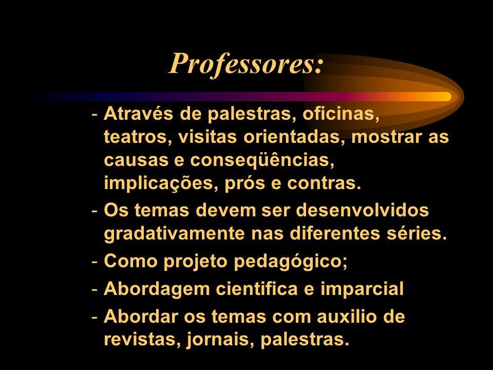 Professores: Através de palestras, oficinas, teatros, visitas orientadas, mostrar as causas e conseqüências, implicações, prós e contras.