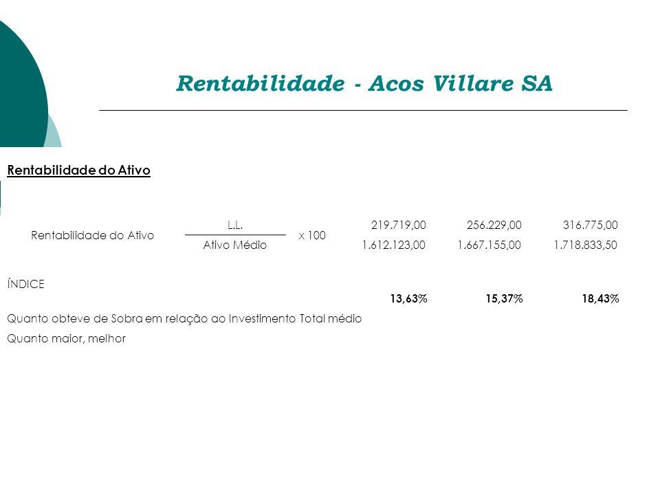 Rentabilidade - Acos Villare SA