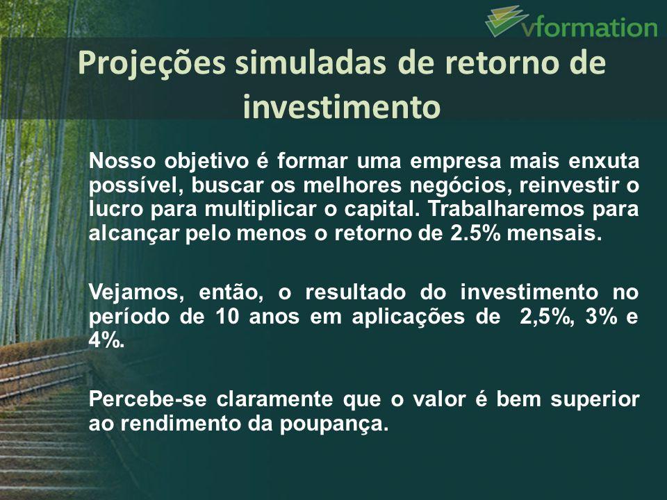Projeções simuladas de retorno de investimento