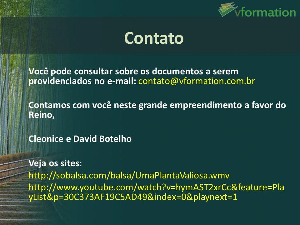 Contato Você pode consultar sobre os documentos a serem providenciados no e-mail: contato@vformation.com.br.