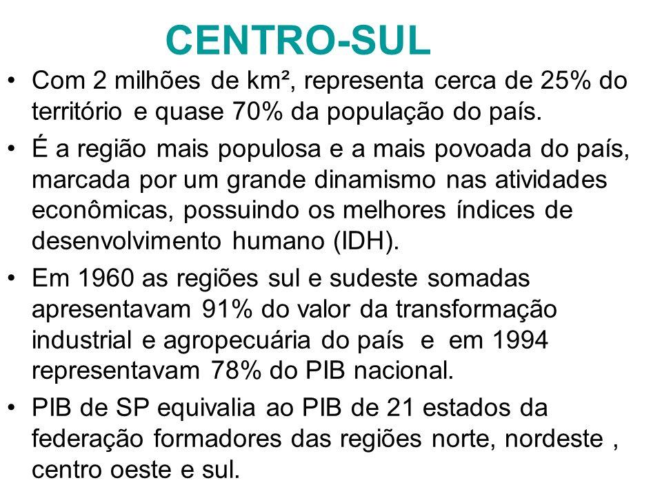 CENTRO-SUL Com 2 milhões de km², representa cerca de 25% do território e quase 70% da população do país.