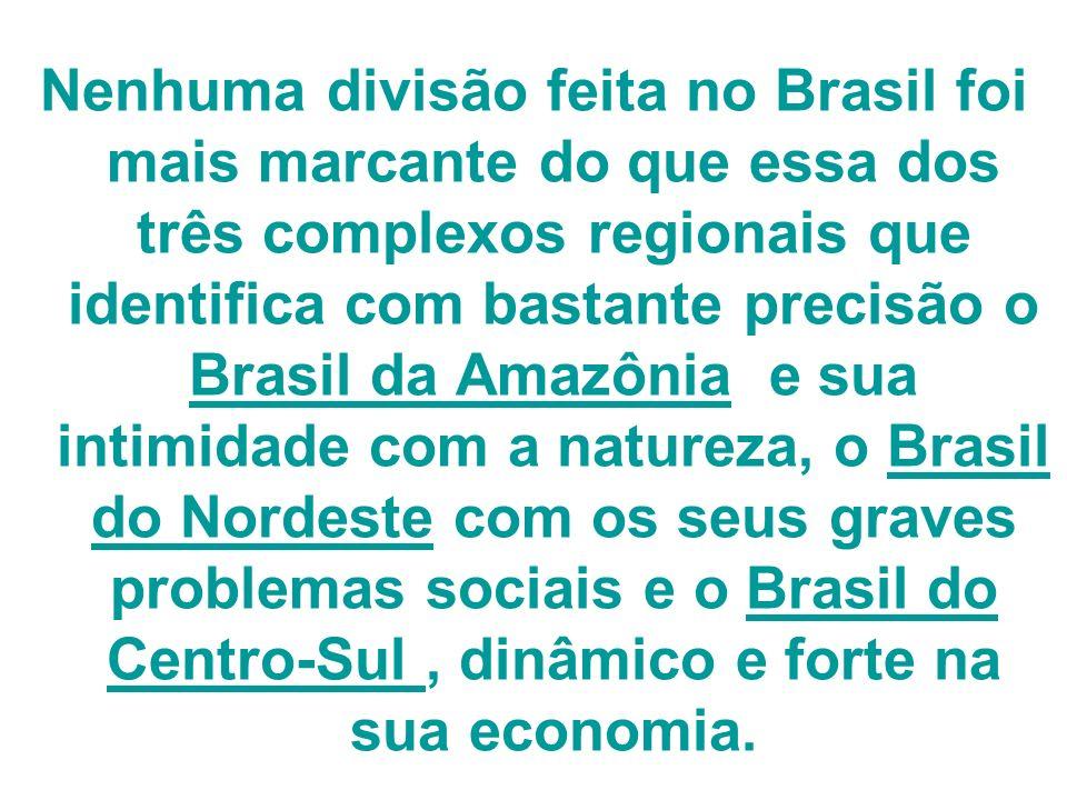 Nenhuma divisão feita no Brasil foi mais marcante do que essa dos três complexos regionais que identifica com bastante precisão o Brasil da Amazônia e sua intimidade com a natureza, o Brasil do Nordeste com os seus graves problemas sociais e o Brasil do Centro-Sul , dinâmico e forte na sua economia.