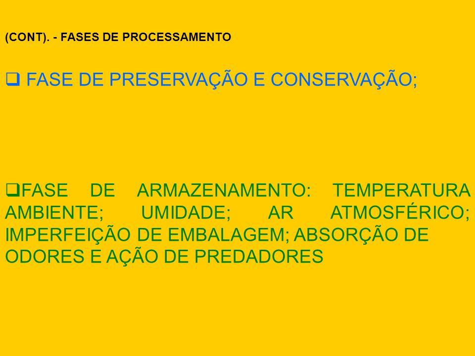 FASE DE PRESERVAÇÃO E CONSERVAÇÃO;