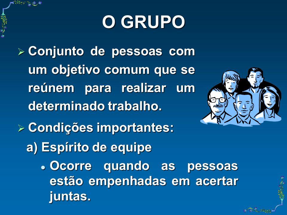 O GRUPO Conjunto de pessoas com um objetivo comum que se reúnem para realizar um determinado trabalho.