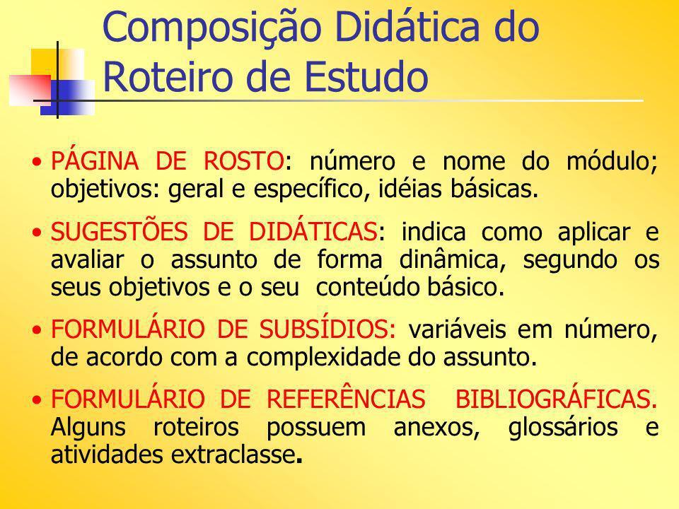 Composição Didática do Roteiro de Estudo